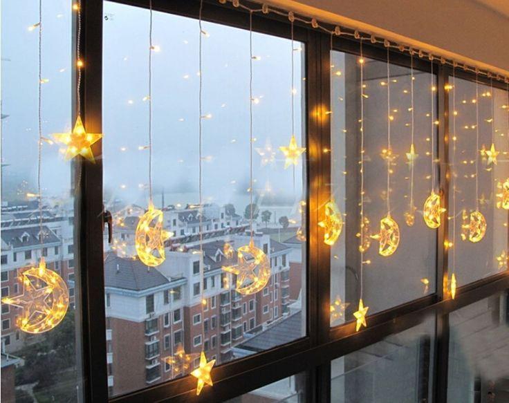 Minetom 139/185 Leds étoiles et la lune Lumières de Rideaux Eclairage Intérieur Extérieur Noël Soirée Décoration 220V 3.8m Jaune: Amazon.fr: Luminaires et Eclairage