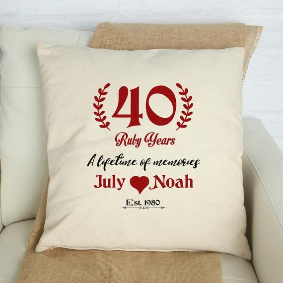 40 Ruby Years Cushion Cover Personalised Wedding Anniversary Etsy In 2020 Personalized Wedding Anniversary Gift Personalized Wedding Wedding Anniversary Gifts