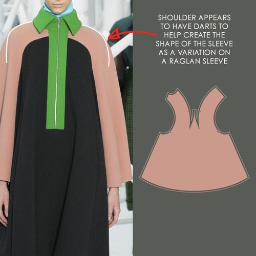 Pattern Cutting Details from Delpozo | The Cutting Class. Delpozo, AW15, New York, Image 3. Shoulder appears to have darts to help create sleeve shape.