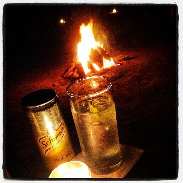 Gin & Tonic by the camp fire @ #sherbagh #india2014