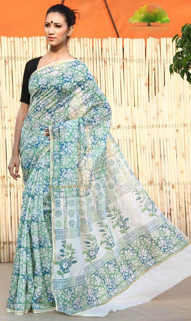 Multicoloured Chanderi Silk Cotton Saree by Surbhi at Indianroots.com