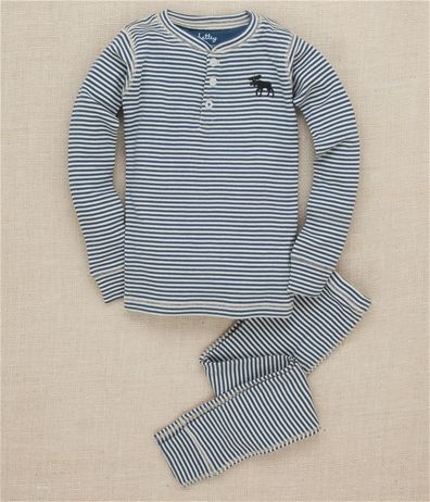 Christmas PJ's? Hatley Blue Moose Stripe Pajama Set