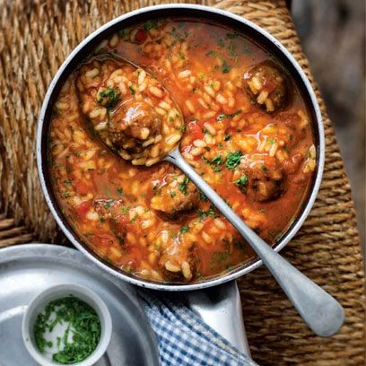 Spanish rice with meatballs. For the full recipe, click the picture or visit RedOnline.co.uk