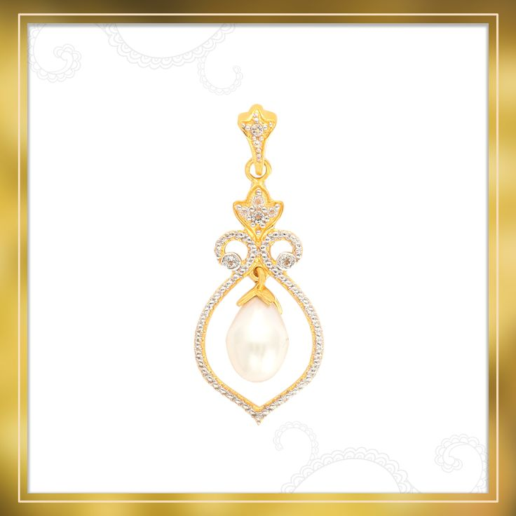 A glorious Pendant made of Gold Plated Sterling Silver with energetic White Topaz and Cultured Pearl | Shipping across India