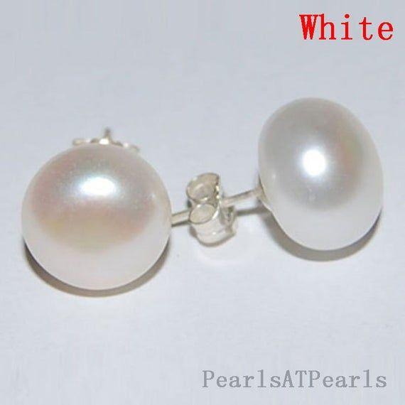 925 Sterling Silver Stud Earrings 11-12 MM green Freshwater Pearls Earring