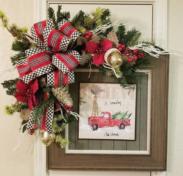 Primitive Christmas Crafts Country Christmas Frame Wreath