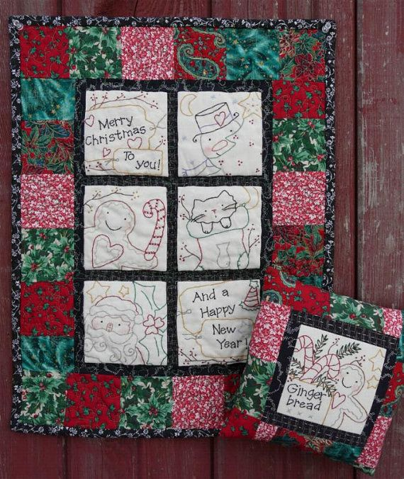 Merry CHRISTMAS embroidery QUILT PDF Pattern -  stitchery santa gingerbread man ginger primitive snowman cat stocking wallhanging