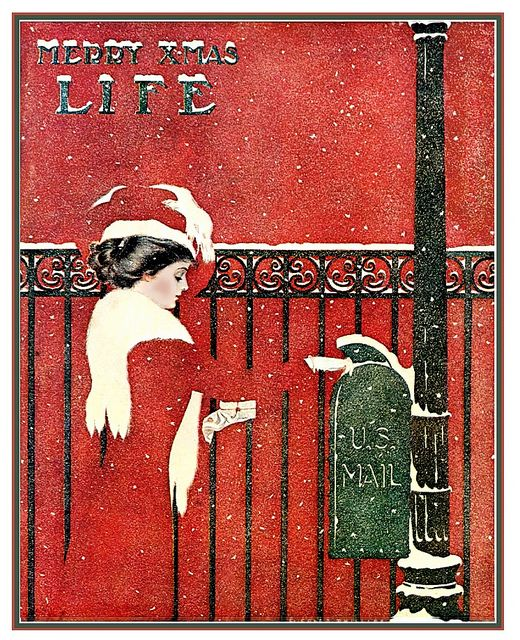 """Coles Phillips - Life magazine, December 1909  Coles Phillips [American artist and illustrator, 1880 – 1927)].  Phillips was one of the chief architects of the """"Golden Age of American Illustration"""" whose """"fade-away"""" style of illustration was highly popular."""