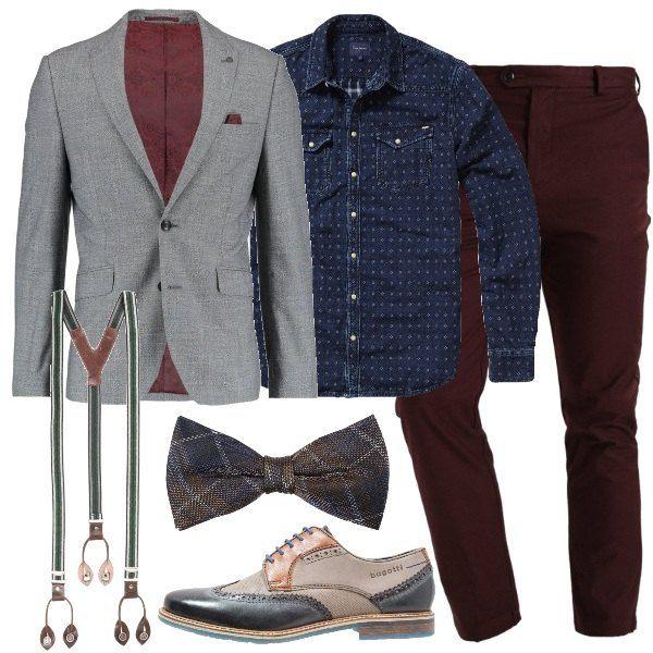 Combinazione hipster con la camicia jeans micro fantasia abbinata ai chinos  bordeaux e al blazer grigio 2bba995afc9