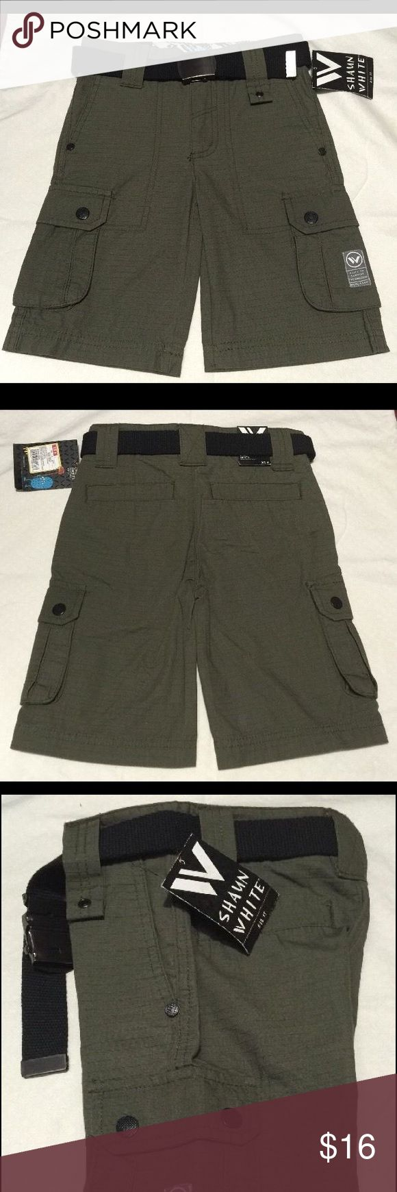 Shaun White Boys Cargo Shorts Olive Green w/ Belt Shaun White Boy's Cargo Shorts  I love Shaun White boys' clothing!  It features many aesthetic designs very appealing to boys.   New with tags Sizes available: 5 Color: Olive Green Included belt: Black fabric 100% Cotton Canvas  Two front pork chop pockets, two cargo pockets, two rear pockets Bronze metal details Features horizontal and vertical line design Extended belt loop Zipper fly Adjustable waistband Wear with or without belt  These…