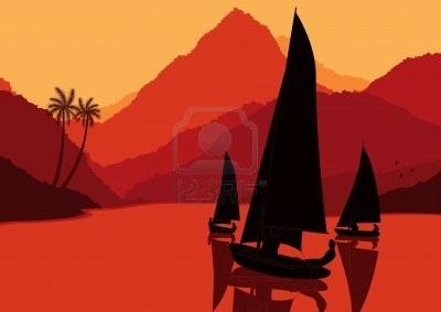 Animé régate de yachts en illustration nature paysage sauvage Banque d'images