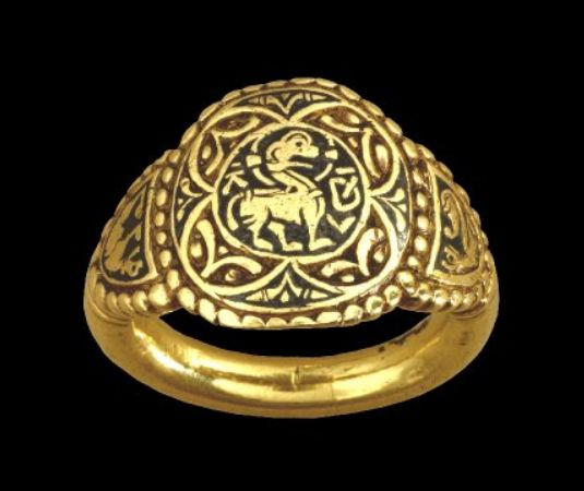 Queen Æthelswith's Ring, C. 853-874 ADThe owner of this ring was Æthelswith, Queen of Mercia (855-89 AD), and sister of Alfred the Great. It was found at Aberford in West Yorkshire, England in 1870....