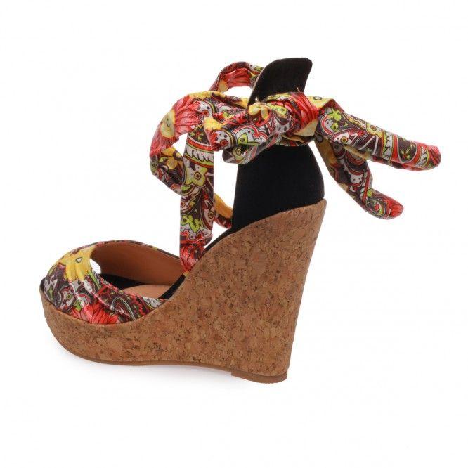 Sandales compensées à lacets fleuris jaune