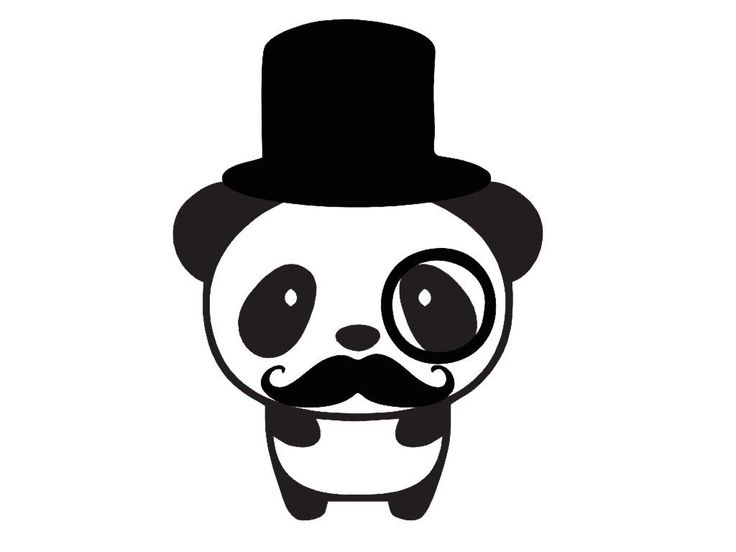 "Cute Panda Tophat Monocle and Mustache Vinyl Decal Sticker for Cell Phones- 3"" x 2.25""  - 28 Color Options. $1.80, via Etsy."
