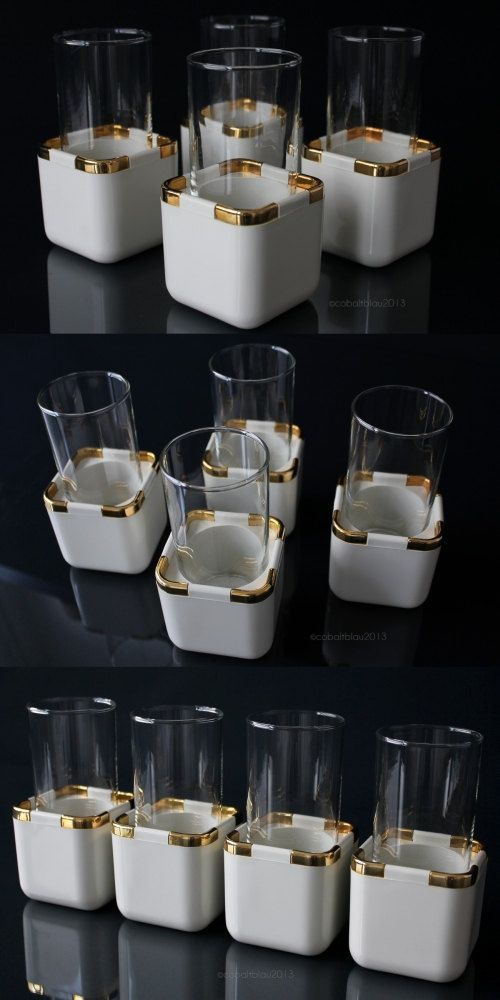 Hollywood Regency Cocktail Glasses · Bar Cart Accessories · White and Gold · Home Decor · Ideas & Styling