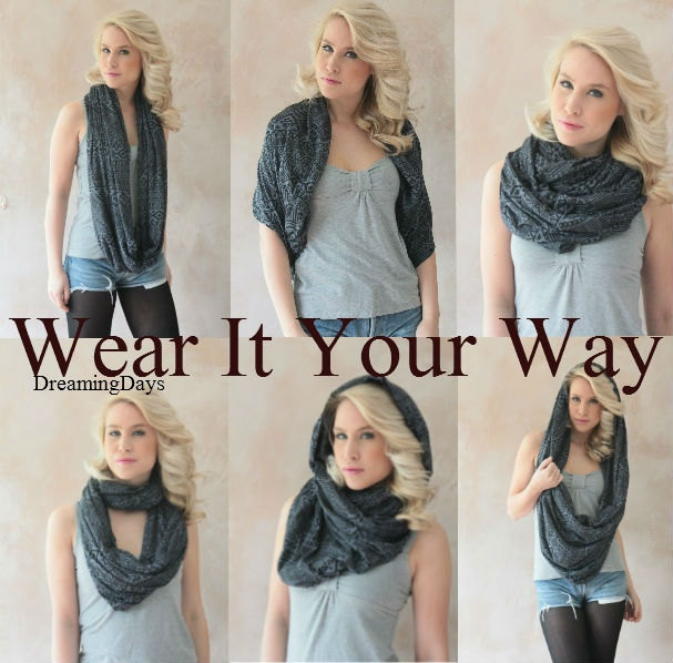 Infinity scarf - Eternity scarf, Circle scarf, Jersey scarf, Tube scarf, Loop scarf, Snood, T-Shirt scarf, Extra Large Chunky scarf. $29.25, via Etsy.