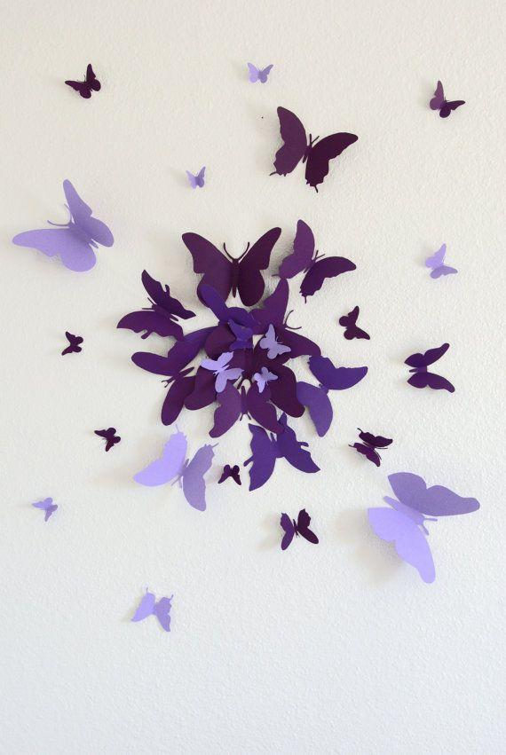 30 papillon 3D Wall Art cercle éclat par LeeShay sur Etsy