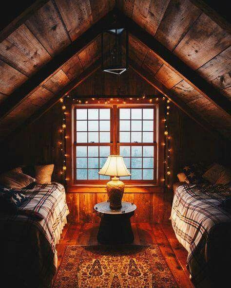 Cabin bedroom feel