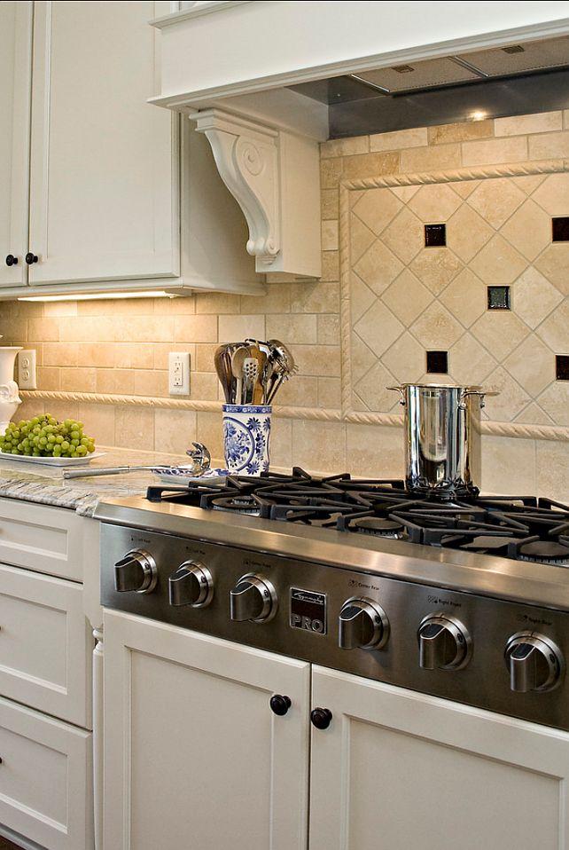 Travertine Herringbone Kitchen Backsplash With Metal Accents