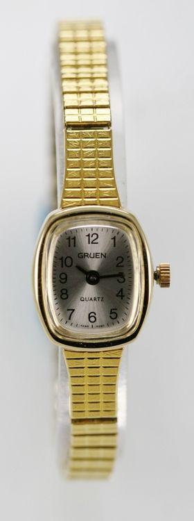 Gruen Watch Womens White Stainless Steel Gold Stretch Water Resistant Quartz