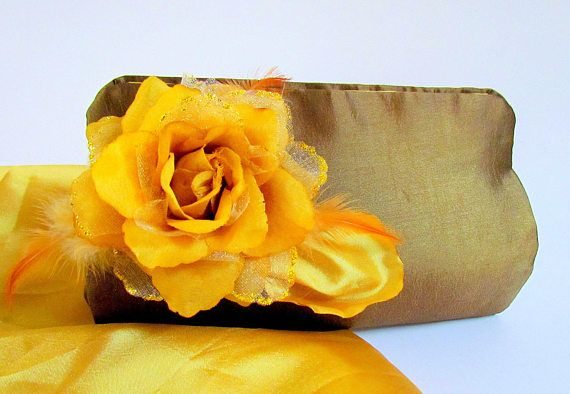 Chic Bronze and Yellow Boutique Clutch Purse Bronze Satin