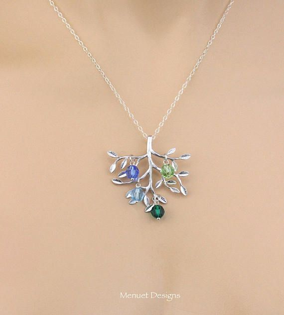 Personalized Family Tree Birthstone Pendant, Custom Tree Initial Necklace, Birthstone Charm Pendant, Monogram Silver Tree, Birthday Gift