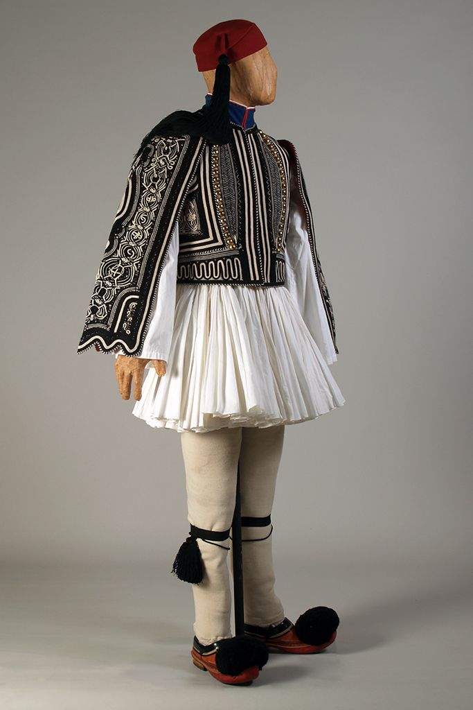 Traditional mainland full-dress uniform of the Greek Presidential Guards, the Evzones, 20th century, KSUM 1991.4.103-.105; .108-.110.
