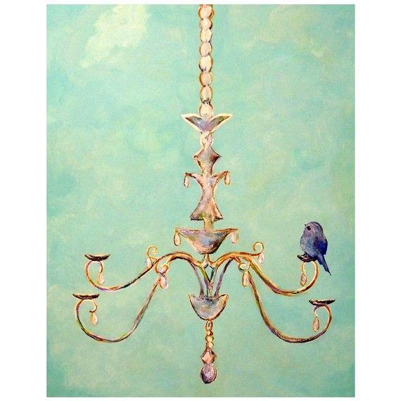 Cute little blue bird - Wall Art Bird on Chandelier Print by ContemporaryEarthArt on Etsy, $15.00