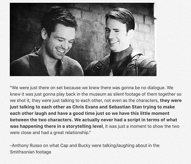 What Cap and Bucky were talking about in the Smithsonian footage.