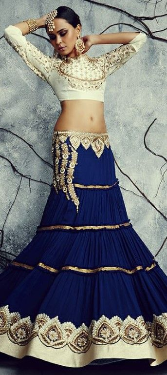 179873 Blue  color family Mehendi & Sangeet Lehenga in Georgette fabric with Border, Machine Embroidery, Patch, Resham work .