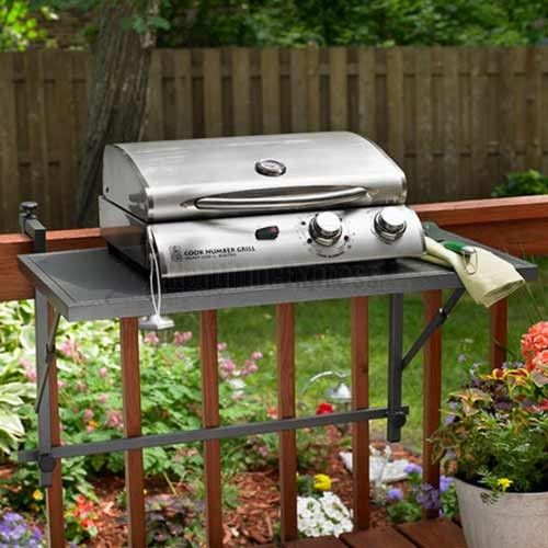 Electric Grills For Apartment Balconies ~ Electric bbq deck rail folding shelf the grill