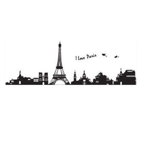 Free Shipping. Buy Home Room Decor Black DIY Removable PVC Paris Skyline Wall Sticker Decal 60x90cm at Walmart.com