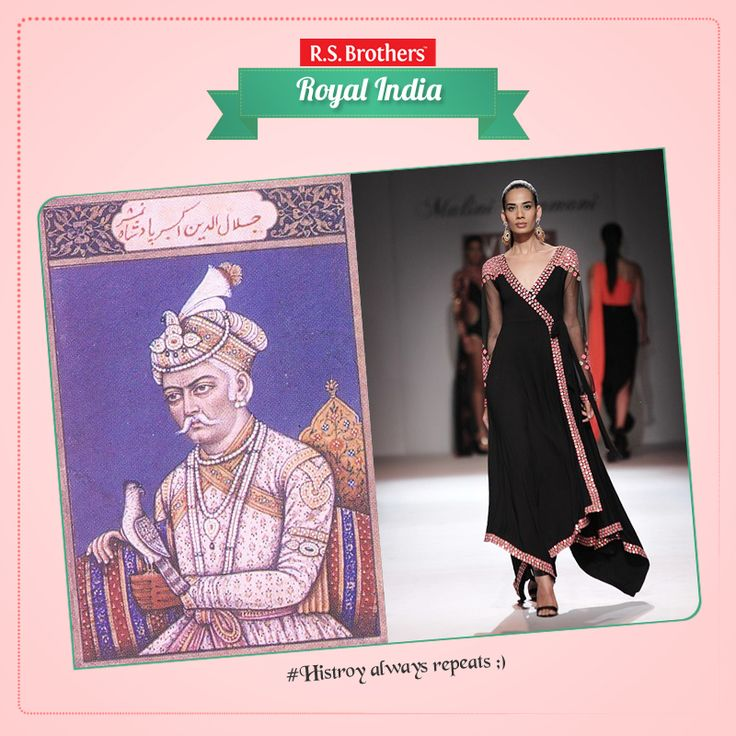 The 16th century Emperor #Akbar, who had ruled the Mughal dynasty during the 1500's, was probably the first Mughal ruler to dream of united India with unification of culture and religion. The #Angrakha or a long formal frock, with ties at one side, became popular, thanks to the emperor.   (Image copyrights belong to their respective owners)