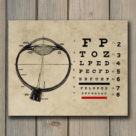 Ophtalmologiste Vintage oeil graphique Print - optométrie Art - ophtalmologiste INSTANT télécharger Wall Art - optométriste affiche imprimable