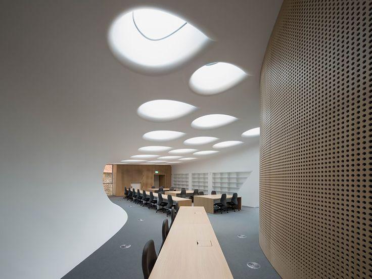 iluminação natural em formas orgânicas no forro de ambiente corporativo