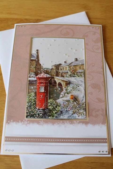 Handmade Christmas Cards,Snowy scene A5 3D card, can be personalised, Hunkydory range