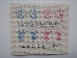 baby boy cross stitch patterns | handmade-twin-boy-girl-birth-card-topper-cross-stitch-hand-footprints