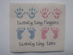 "Handmade twin boy & girl birth card topper cross stitch ""hand & footprints"""