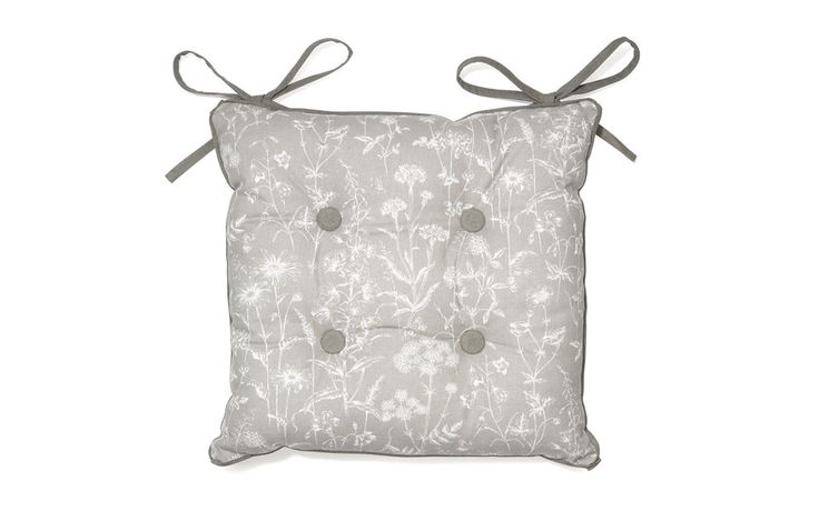 Grey Highland Check / Floral Lisette Seat Pad at Laura Ashley