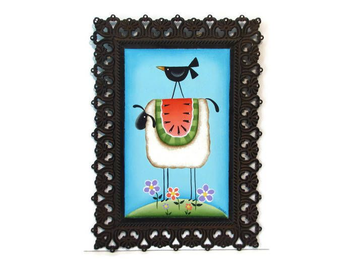 Prim Sheep, Watermelon, Crow, Filigree Metal Frame, Handpainted Sign,  Hand Painted Primitive Decor, Wall Art, Tole Decorative Painting by ToleTreasures on Etsy