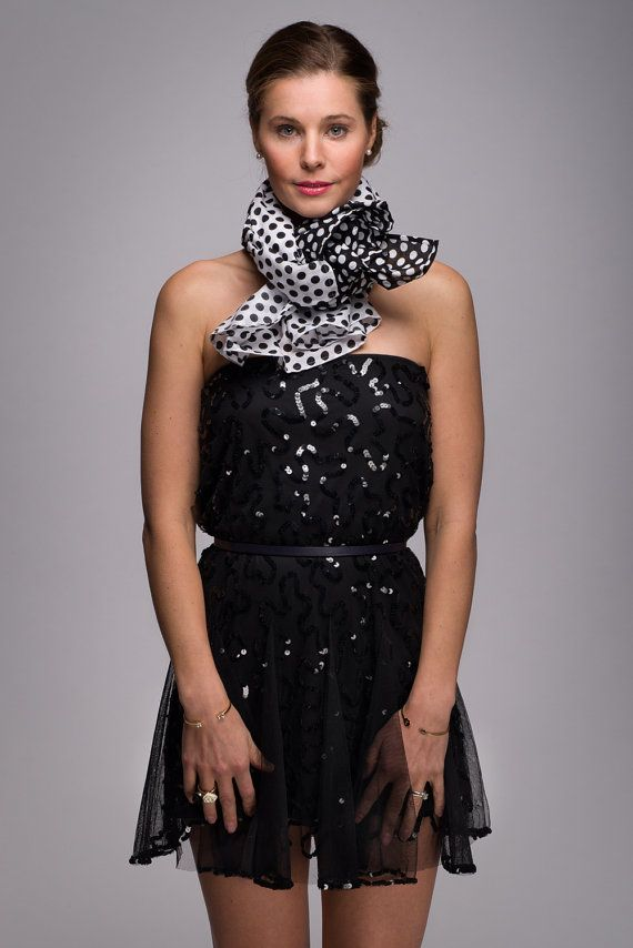 Black and White Polkadot Scarf Timeless Feminine by WICKandPoppy, $53.66 Etsy