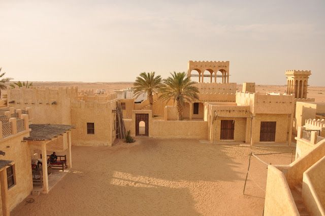 The Film City in the heart of the Quatar desert. Built as a mock-up of an Arabian village, nobody knows the exact reason why it was built.