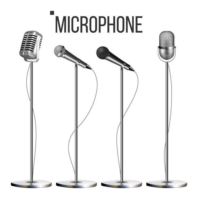 Microphone Set With Stand Vector Music Icon Vintage Concert Modern And Retro Audio Communication Musical Symbol Performance Object Illustration Mic Vector Mi Seni