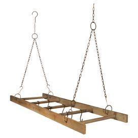 """Metal and wood hanging pot rack with a ladder design.  Product: Pot rackConstruction Material: Metal and woodColor: BrownDimensions: 30.3"""" H x 48"""" W x 15.9"""" DNote: Assembly required"""