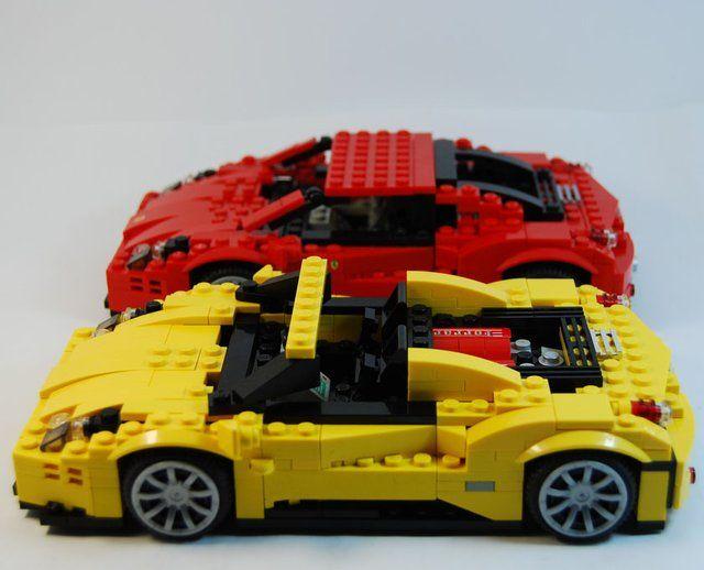 Ferrari 458 Italia in Lego...looks like Sunstreaker and Sideswipe from G1...