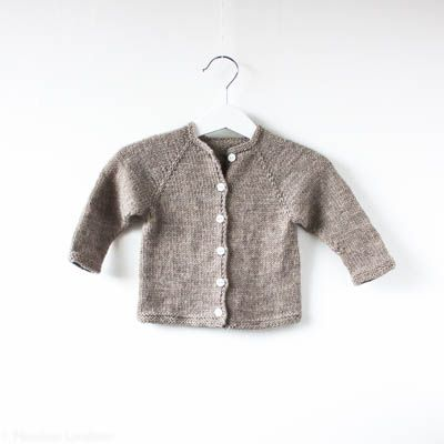 Baby raglan cardigan knitted from the top down, with loose upper sleeves to…