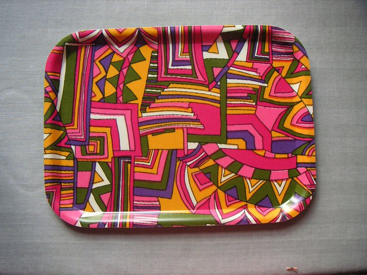 Birchwood tray with fabric (unknown design) 1970s