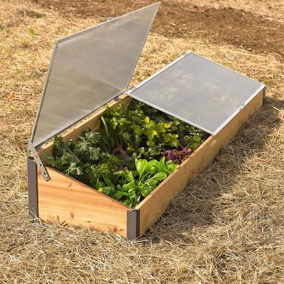 """Cold frame idea - Cedar, polycarbonate, aluminum • 8' L x 2' W • 7-1/4"""" H at the front, 14-3/4"""" high at the back"""