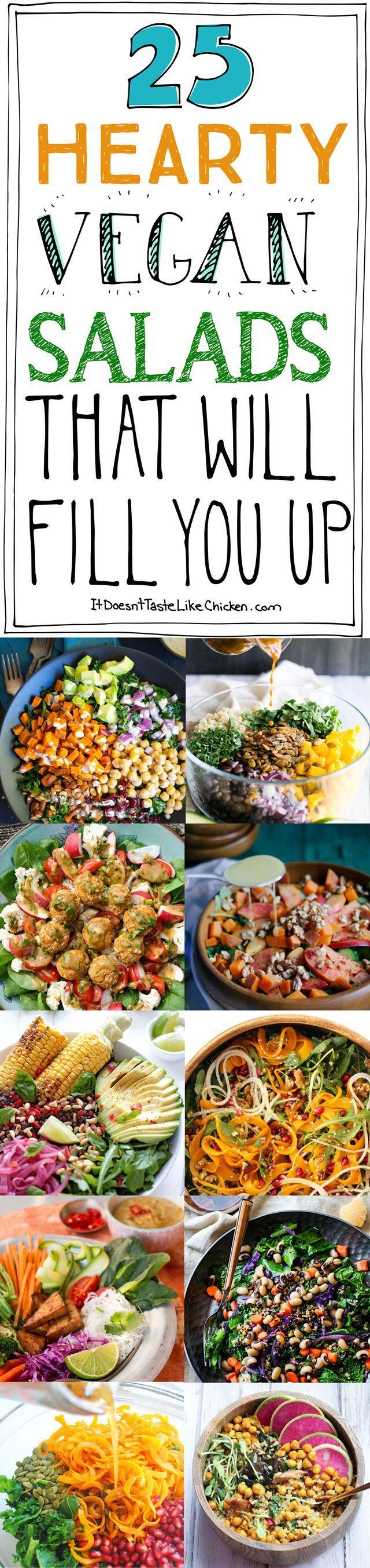 25 Hearty Vegan Salads That Will Fill You Up! Ich brauche immer was sättigendes und irgendwie befriedigendes für laaaange Arbeitstage. Die Bilder sehen vielversprechend aus.