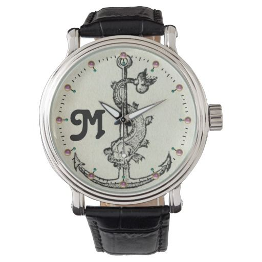 ANCHOR WITH FISH NAUTICAL MONOGRAM WRISTWATCH  #navy #ship #sail #watches #fisherman #fisher #marine #sea #ocean